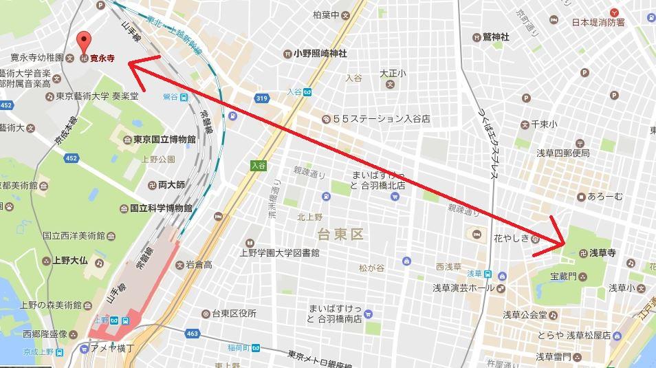 浅草寺から上野の寛永寺までの地下通路