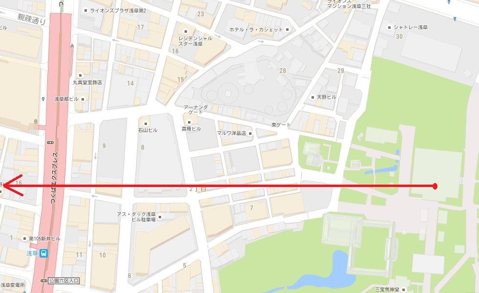 浅草の隠し通路とつくばエクスプレス浅草駅の位置関係