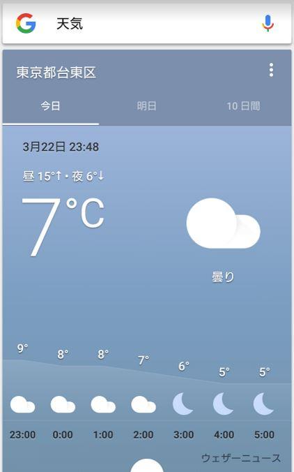 グーグル天気予報