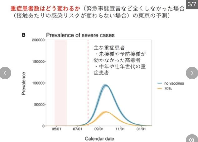 東京の重症者10万人とかいうグラフ