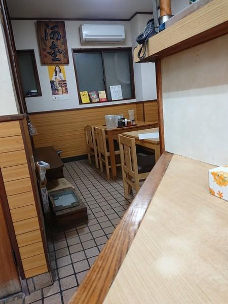 河金の店内テーブル