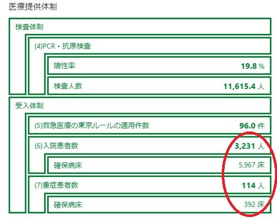 東京都の病床使用率