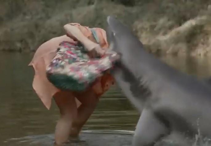 サメがおばあちゃんを頭からパクリする